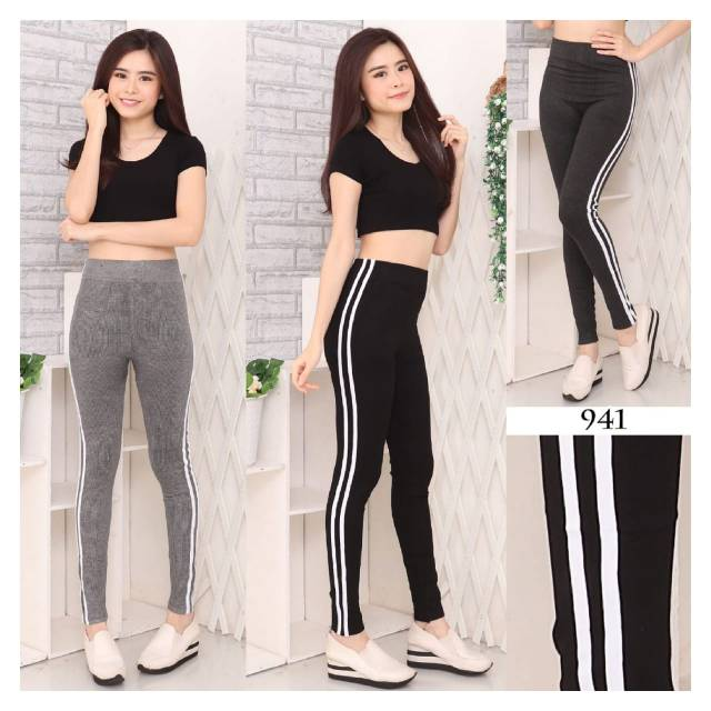 Celana Legging Wanita Double List Stripe Leging Fashion Import Shopee Indonesia