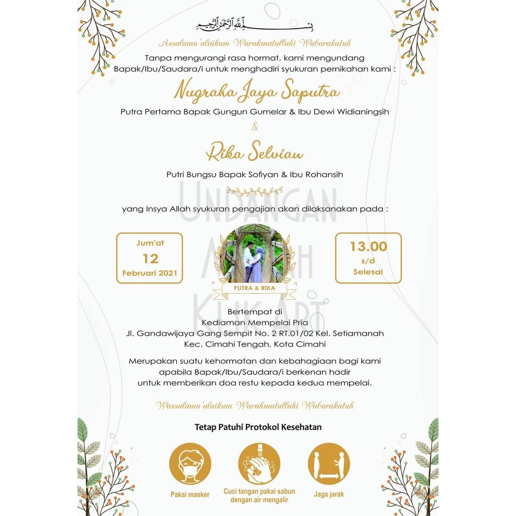 Kartu Tasyakuran Pernikahan Kartu Ucapan Pernikahan Undangan tasyakuran  pernikahan Walimatul Ursy