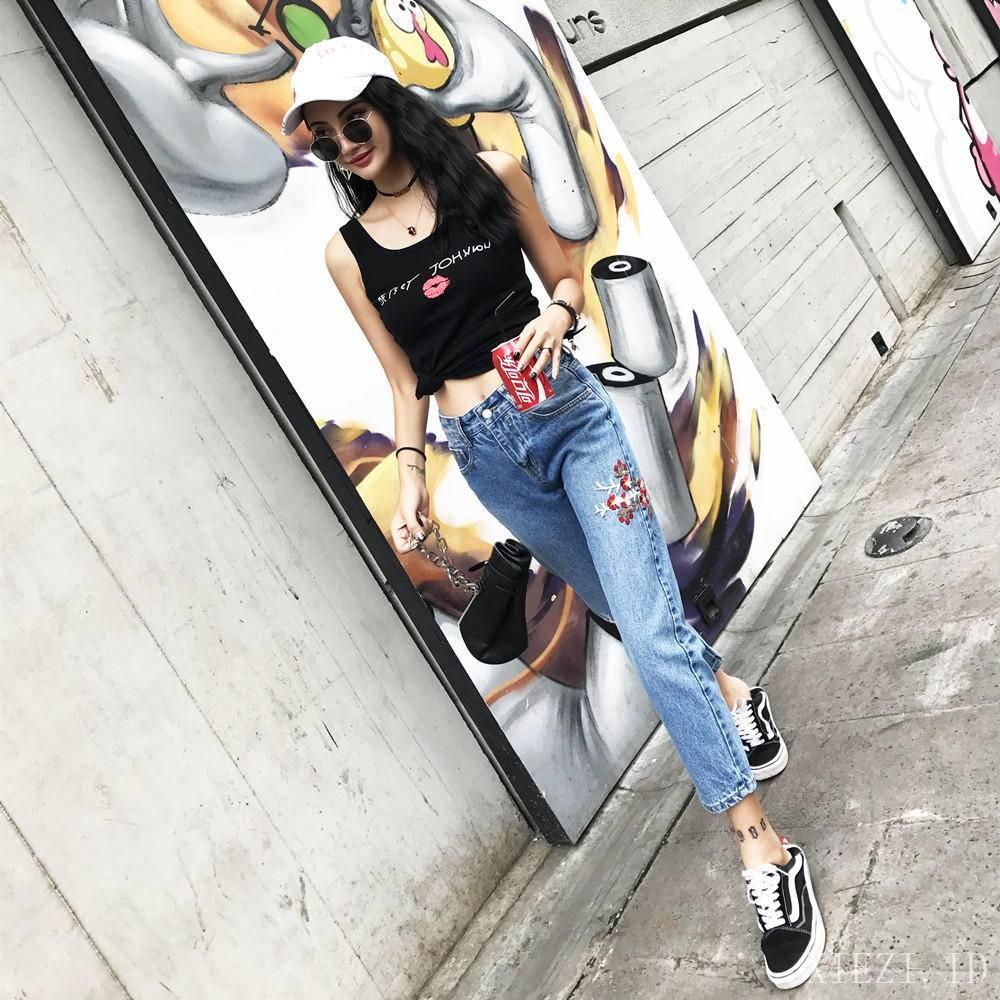 Celana Panjang Denim Jeans Korea Low Waist Longgar Aksen Garis Putih Wanita Hareem Pants Standart Rumbai Casual Untuk Shopee Indonesia