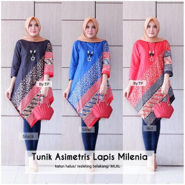 Tunik Asimetris Lapis Milenia / Tunik Batik Cantik Modern / Atasan Wanita Muslim / Seragam Batik