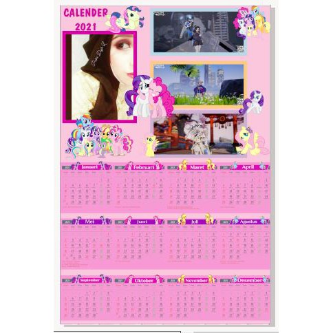 Kalender Dinding tema kartun bisa pakai foto anak/keluarga ...
