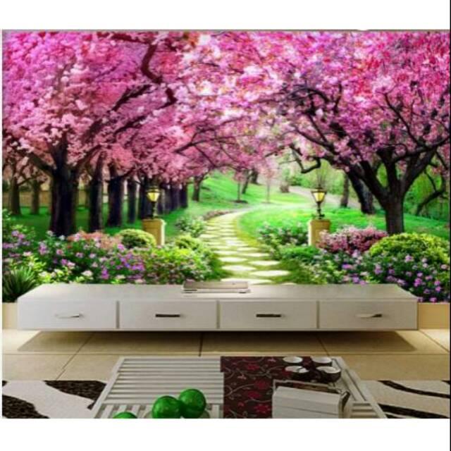 Wallpaper 3d Dinding Custom Bunga Sakura Termurah Shopee Indonesia