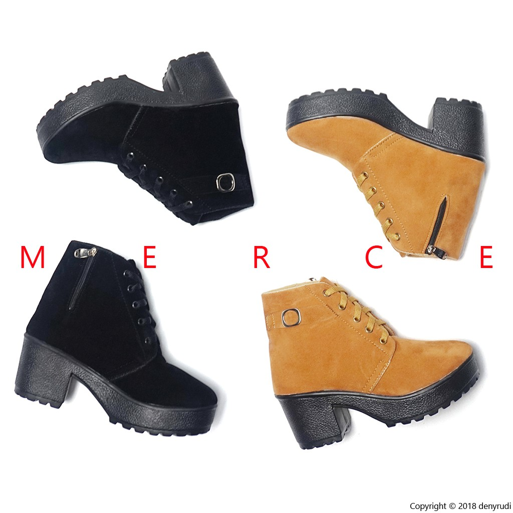 Merce - DINA Boots Wanita Hitam Coklat
