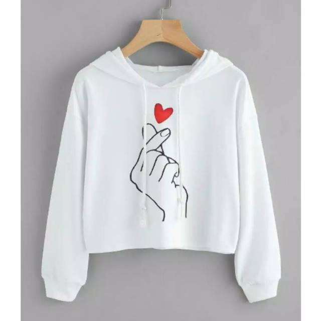 TERBARU!!!netlayfashion Sweater Wanita Crop Hoodie How You Doin Fit XL -  Putih 0aa1595332