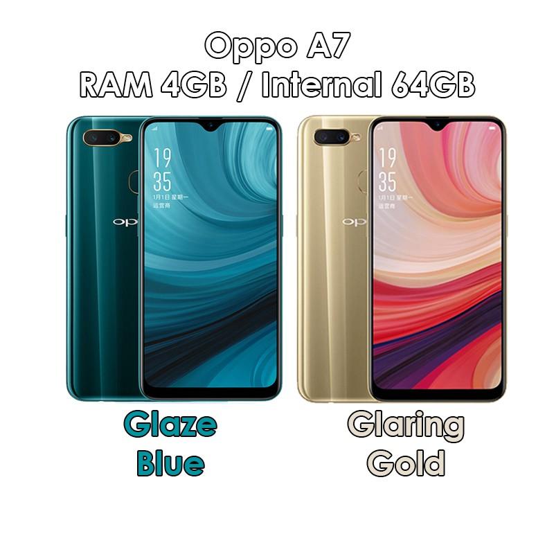 Oppo A7 - RAM 4GB ROM 64GB (4/64) - Glaze Blue / Glaring Gold ...