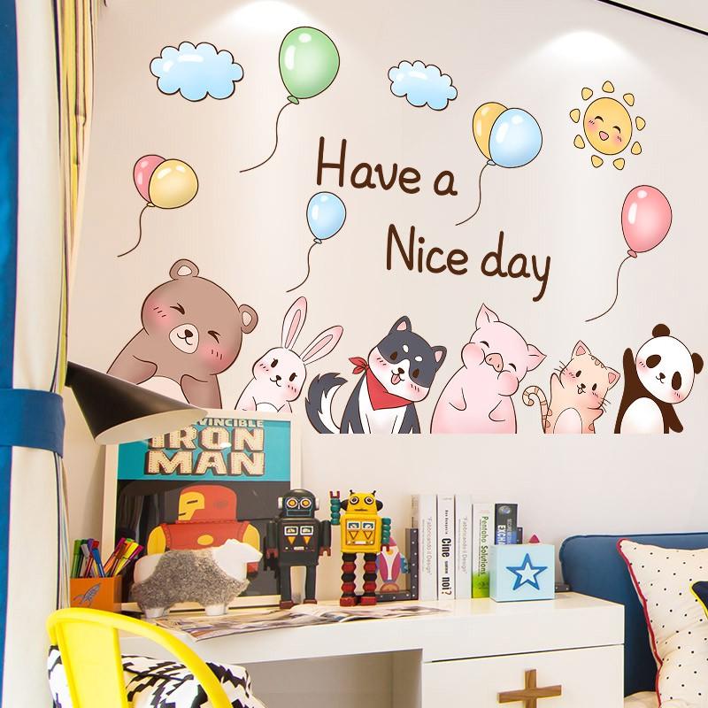 Kartun Stiker Dinding Kamar Anak Anak Yang Lucu Samping Tempat Tidur Kertas Dinding Kamar Anak Laki Laki Kamar Tidur Kreatif Stiker Hiasan Dinding Shopee Indonesia