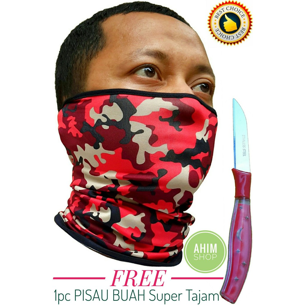 AHIM Masker Buff Bandana Elastis Multifungsi (Loreng Army Hijau) FREE1pc Pisau Buah STAINLESS STEEL | Shopee Indonesia