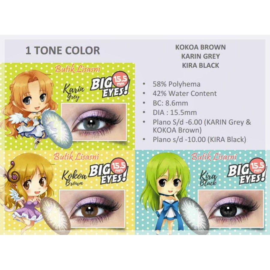 Softlens X2 Manga Shin 1 Tone Kakao Brown Karin Grey Kira Black Diva Queen One Layer With Clear Vision Shopee Indonesia
