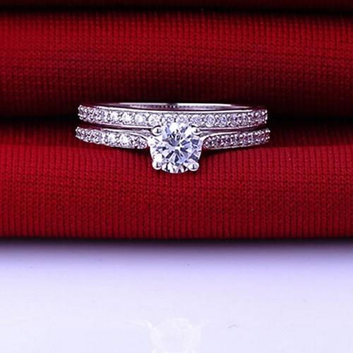 2PCS Cubic Zirconia Ring Women Wedding Engagement Band Jewelry Set Size 6-10