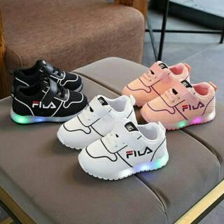 Sepatu Anak LED 21-30 MG Pattern Sneaker