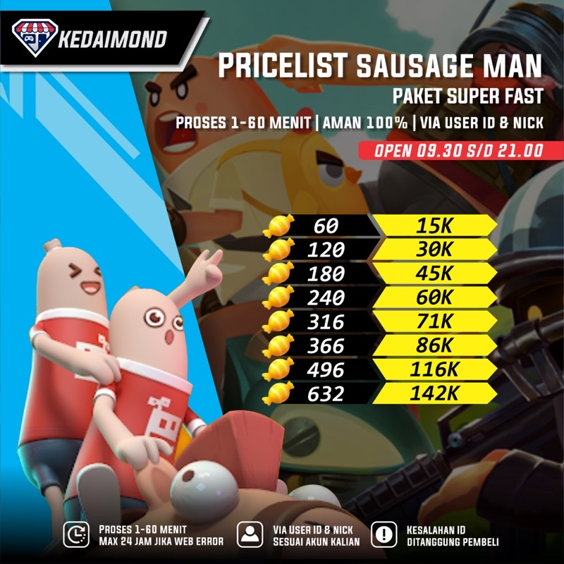 Top Up Candy Sausage Man   Candy Sausage Man Murah & Fast Proses