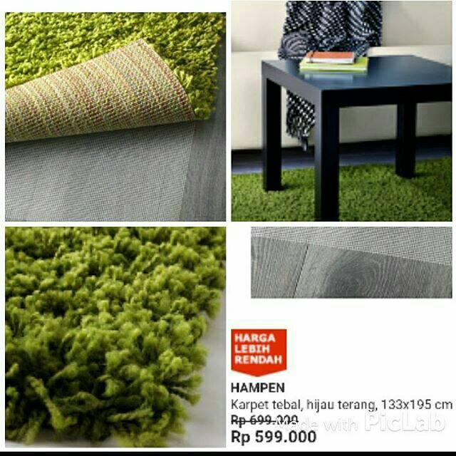 Ikea hanpen karpet hijau terang Shopee Indonesia