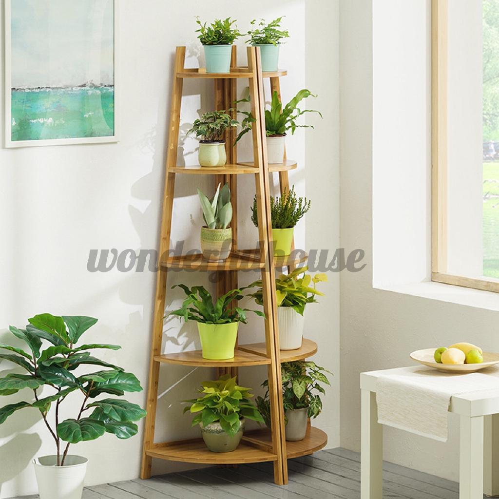 3 5 Tiers Flower Pot Stand Indoor Plant Display Planter Wooden Shelf Rack Garden Shopee Indonesia