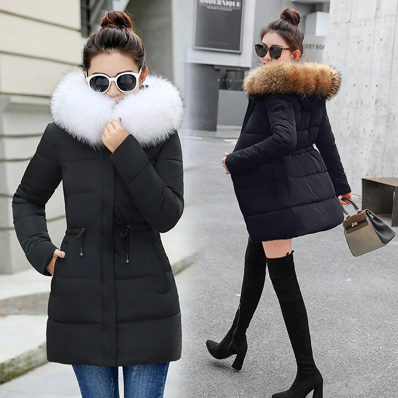 Womens Faux Fur Hooded Warm Winter Loose Mid Long Parka Coat Thicken 2019 New