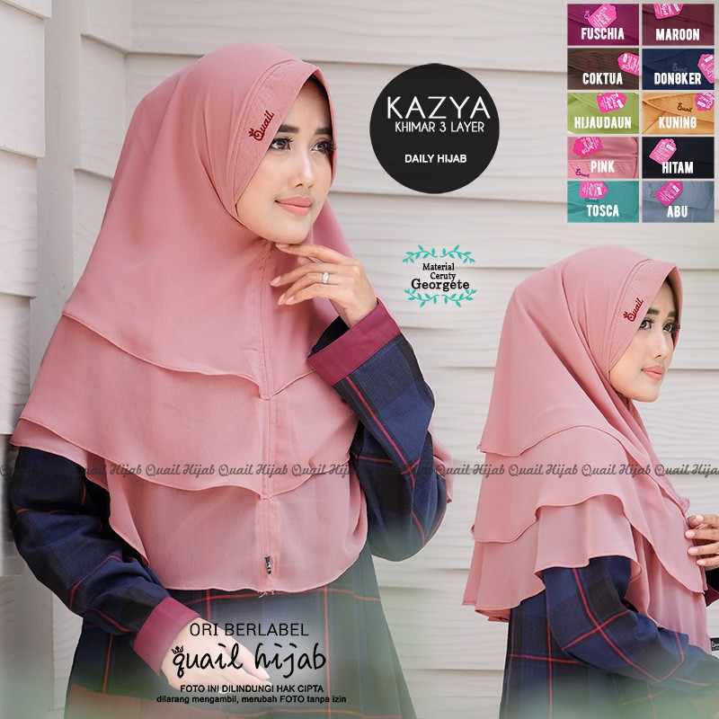 Jilbab Khimar 3 Layer Kazya Original Quail Hijab Shopee Indonesia