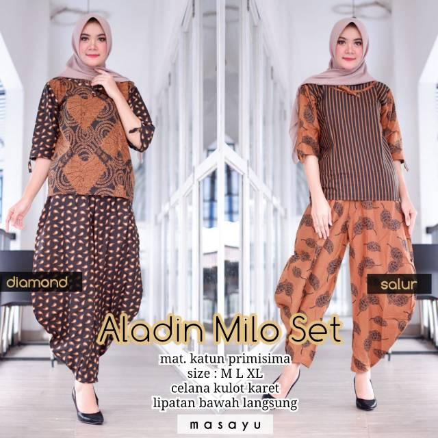 Aladin Milo Set Setelan Batik Setelan Kulot Setelan Celana Baju Batik Batik Murah