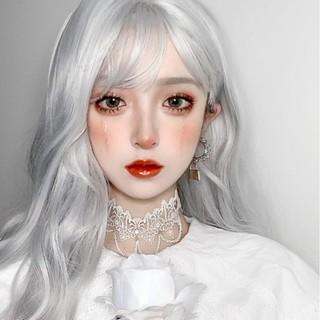Wig Wanita Cosplay Wig Poni Udara Abu-Abu Rambut Keriting Panjang Mikro Rambut Keriting Gelombang Besar Wig thumbnail
