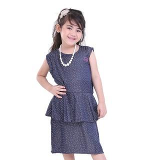 T 3160 Baju Anak Perempuan Dress Pendek Terusan Cewek Polkadot Biru