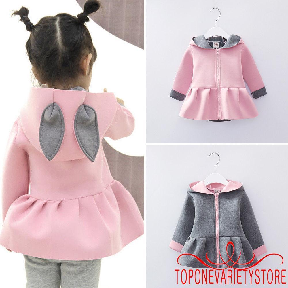 Harga preferensial Etr-kids Jaket Hoodie Bayi / Anak Perempuan Desain Telinga Kelinci untuk Musim Gugur / Dingin buy now - only 108.280Rp