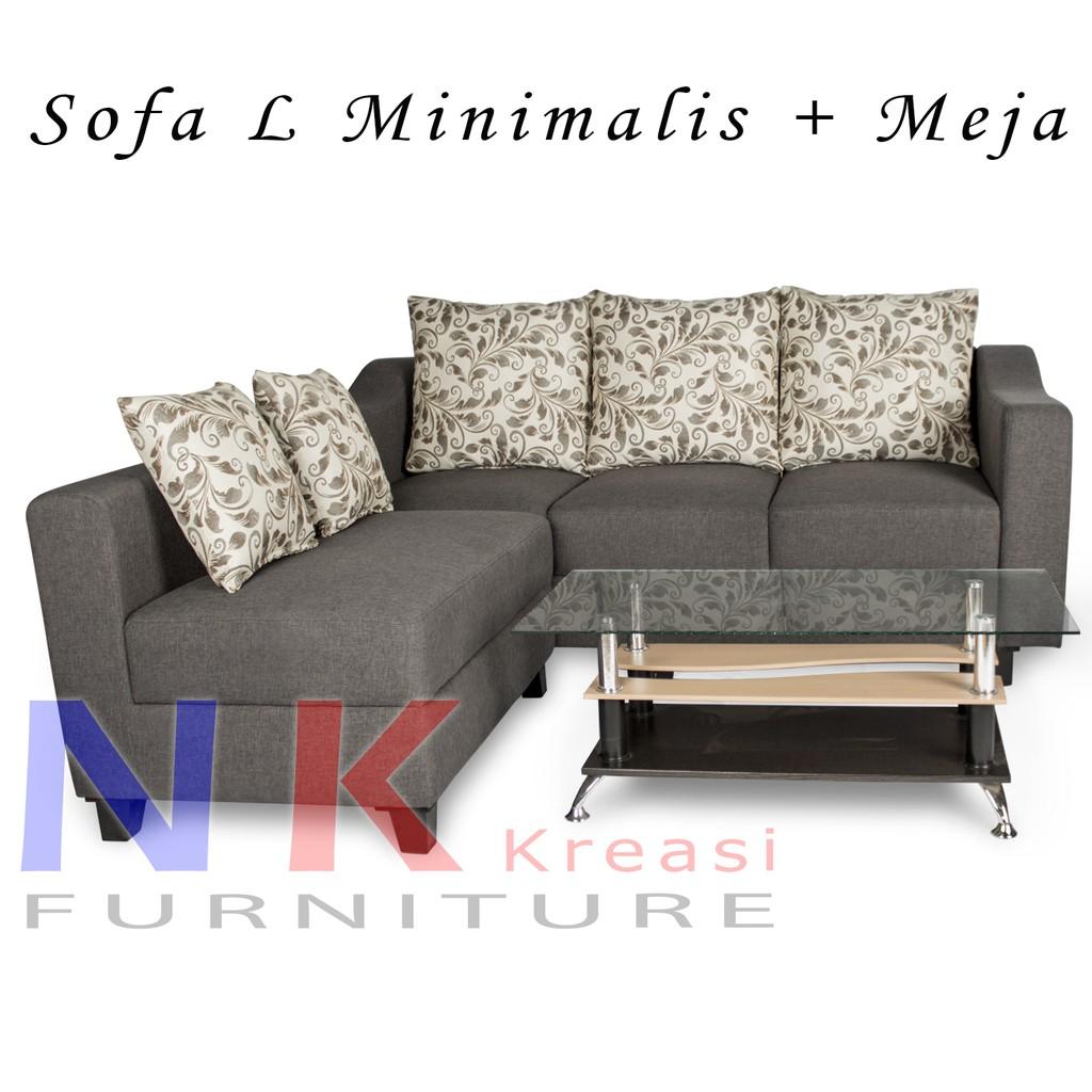 Sofa Kursi Ruang Tamu L Putus Sudut Minimalis Meja Tamu Shopee Indonesia
