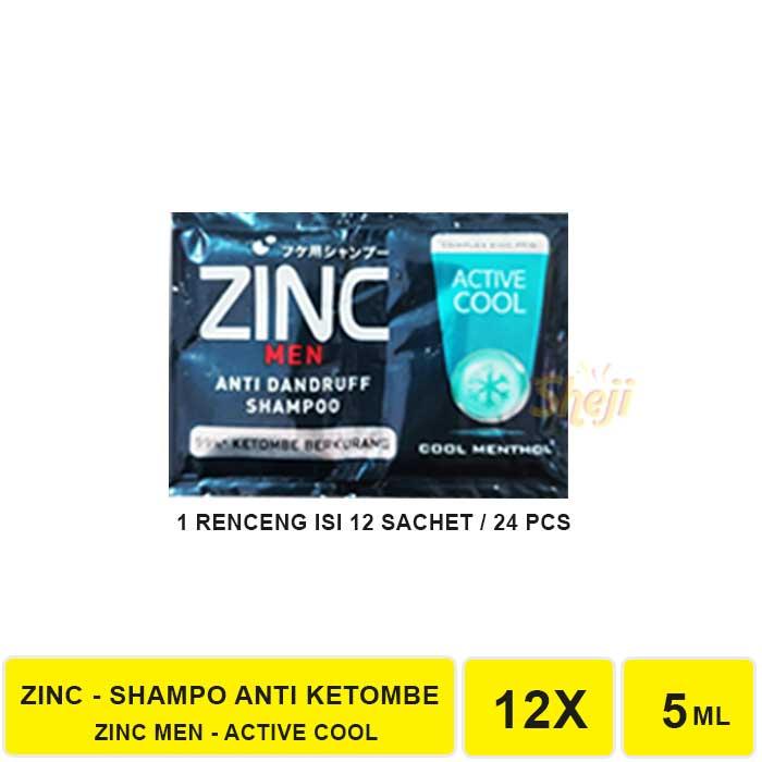 VS. SHAMPO ZINC SACHET 1 RENCENG ISI 12 SACHET / SHAMPO ANTI KETOMBE ZINC-ZINC MEN ACTIVE COOL