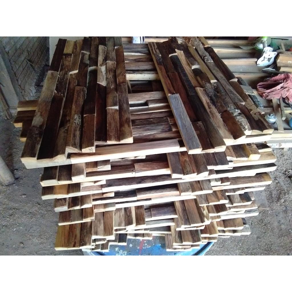 Dekorasi Dinding Limbah Kayu 1x1 Meter Flooring Recycled Wall Decoration Shopee Indonesia Kreasi limbah kayu