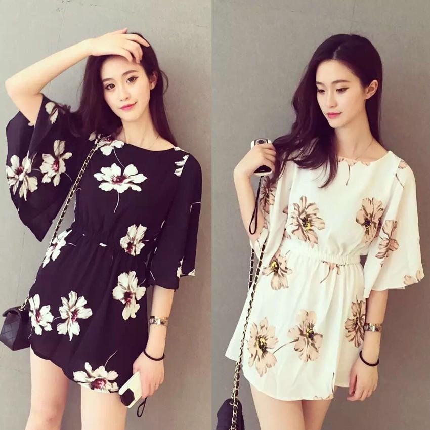 Korean Women Mini Dress Casual Long Sleeve Dresses Myqueen Shopee Indonesia