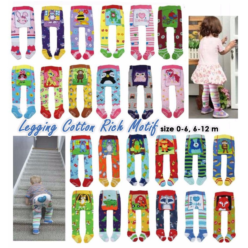 Legging Bayi Motif Cotton Rich Tights Baby Isi 4pcs Leging Celana Kaki Tutup Polos Shopee Indonesia