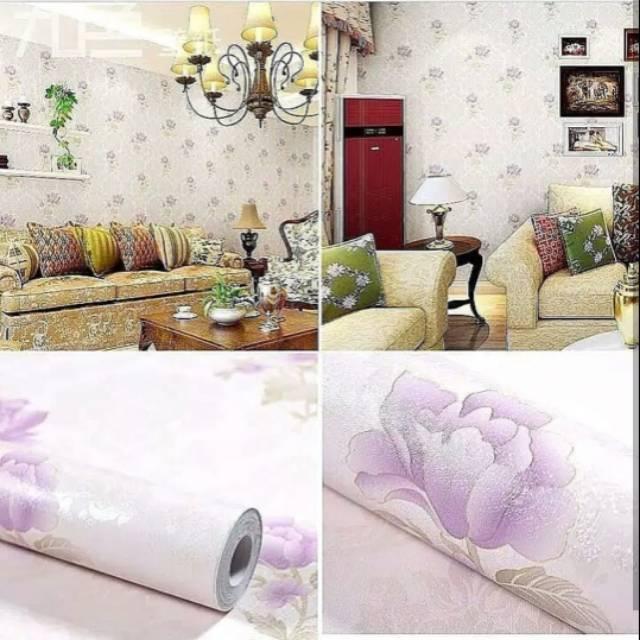 Wallpaper Dinding Wallsticker Dekorasi Shabby Chic Ungu