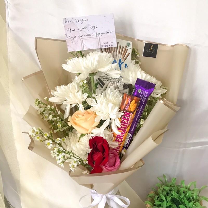 Buket bunga asli & coklat