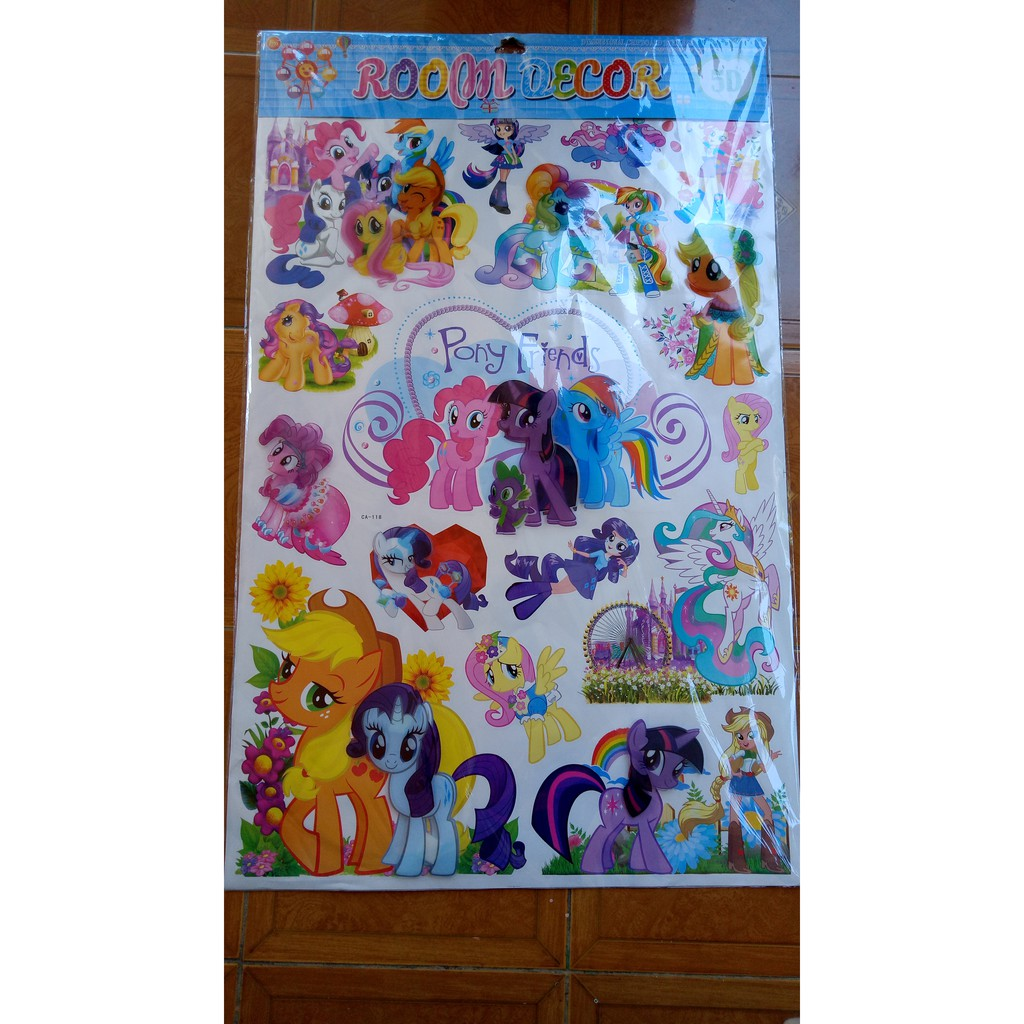 Stiker Dinding Wall Stickers Wallpaper 3D Motif Little Pony Unicorn 60x90 Murah Bagus