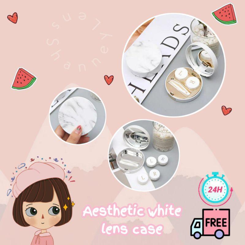 Kotak Softlens Estetik Warna Putih Lengkap Aesthetic White Lens Case Shopee Indonesia