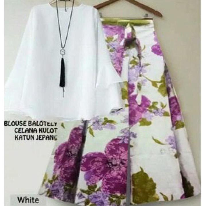 Setelan Kulot Asifa Purple Blouse White Flat -Baju Setelan Wanita | Shopee Indonesia