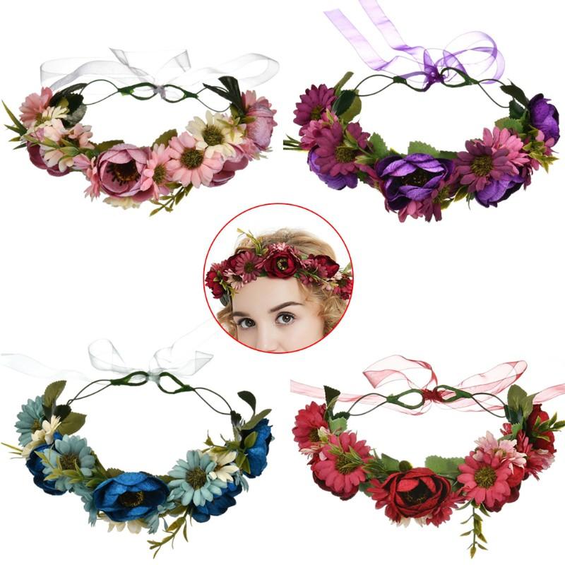 Pink Blue White Rose Daisy Flower Headband Festival Garland Boho Hair Band X-72