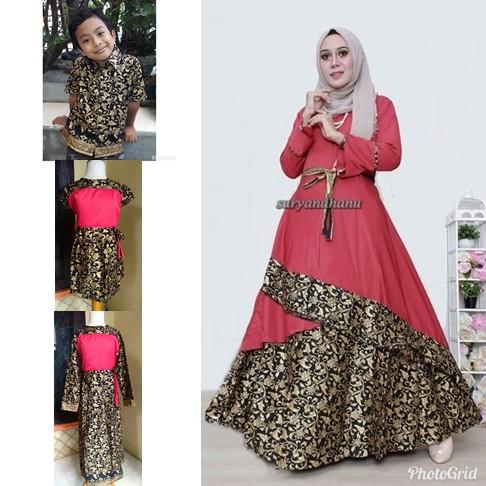 Couple Batik Ibu Anak Baju Gamis Batik Baju Pesta Muslim Batik Anak 725 Shopee Indonesia