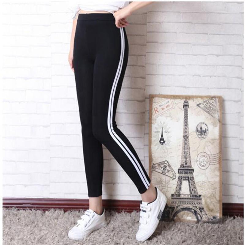 Celana Panjang Legging Olahraga Wanita Motif Garis Putih Ukuran Besar Untuk Lari Shopee Indonesia