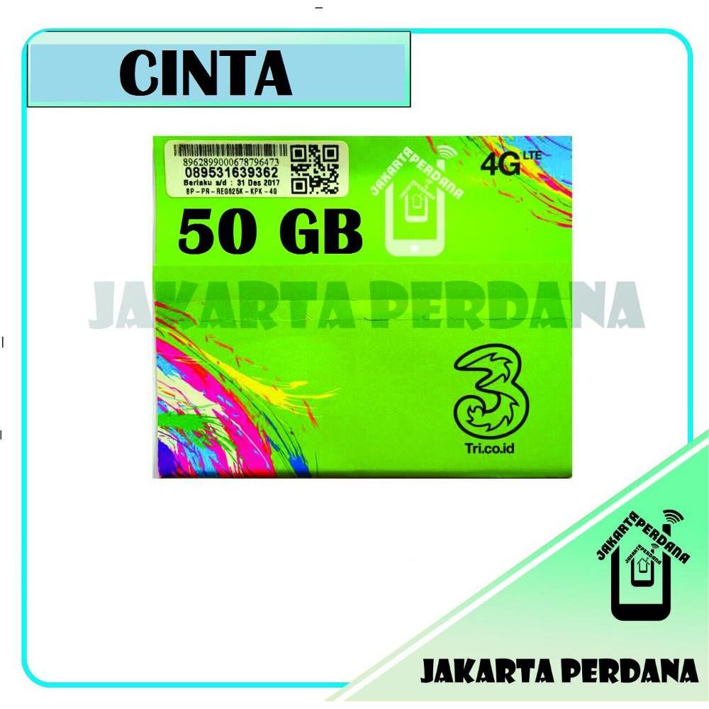 New Kartu Perdana Internet Three Tri 50gb 3 Cinta 6 Gb 12gb 20gb Kpk Data Original Shopee Indonesia