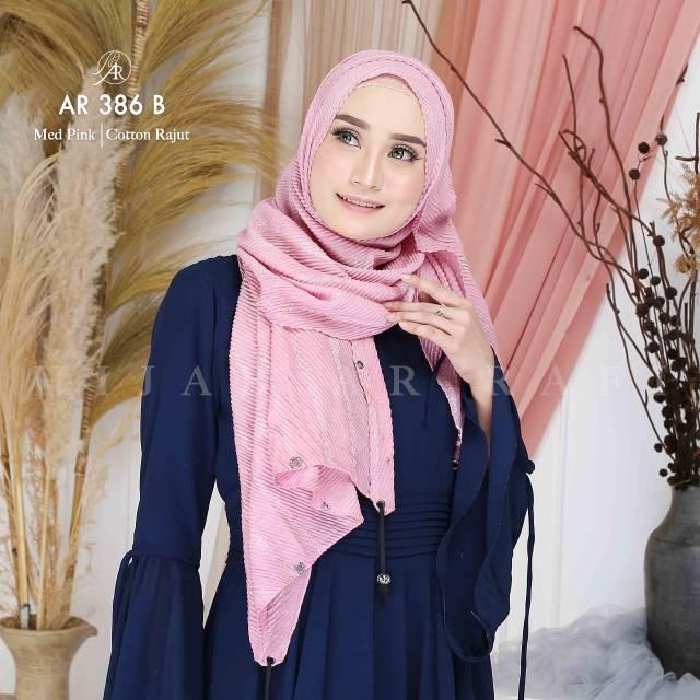Hijab Persegi Panjang Pashmina Arrafi Ar 386 B Bahan Cotton Rajut Halus Adem Shopee Indonesia
