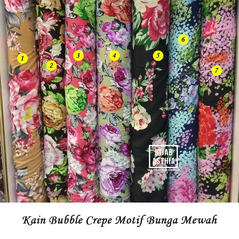770978789e4f9 Kain Bubble Crepe Motif Bunga / Bahan Pakaian Wanita / Kain Meteran
