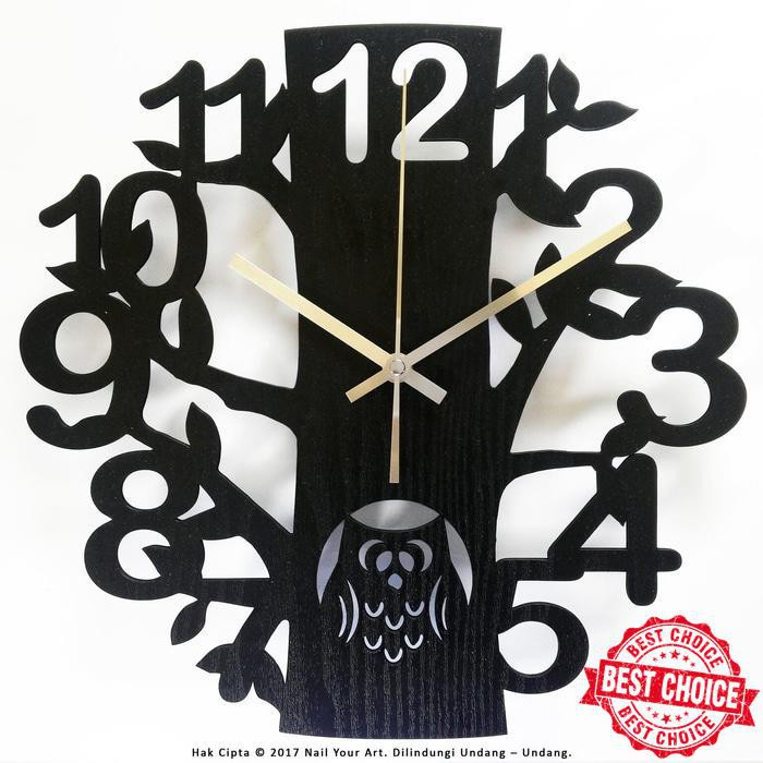 VL - NAIL YOUR ART - JAM DINDING UNIK ARTISTIK - ARTISTIC WALL CLOCK SERIES  - Black Owl  02f32b9178