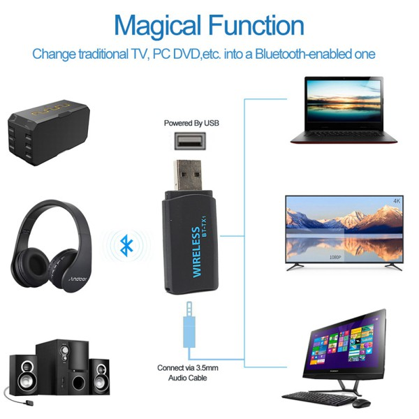 4.2 Bluetooth Transmitter Portable Stereo Audio Wireless USB Adapter For TV PC
