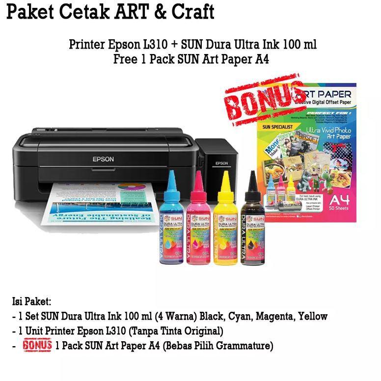 Printer Epson L310 SUN Dura Ultra Art Paper Ink BONUS Art Paper A4