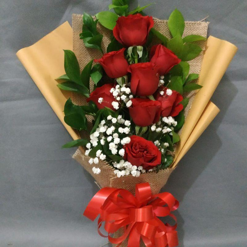 Buket bunga mawar merah asli fresh