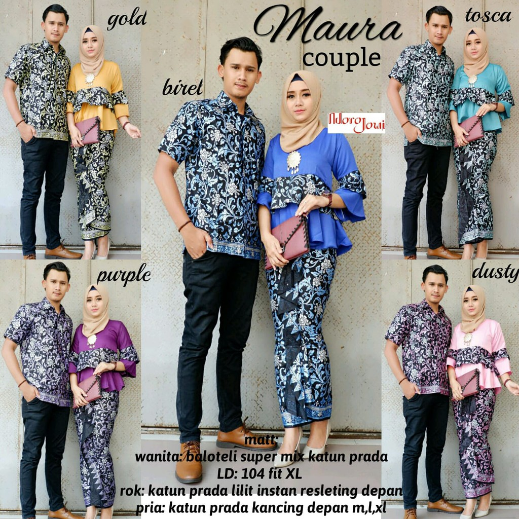 Maura Couple Batik Solo Batik Couple Keluarga Kemeja Batik Pria Kebaya Batik Ori By Ndoro Jawi