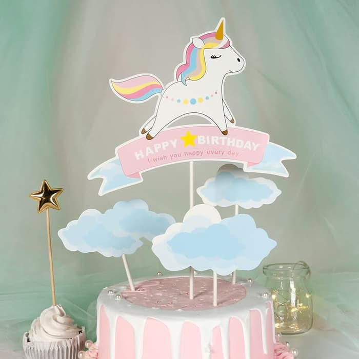 Set Topper Cake Kuda Pony Poni Unicorn Cute Hiasan Kue Shopee Indonesia