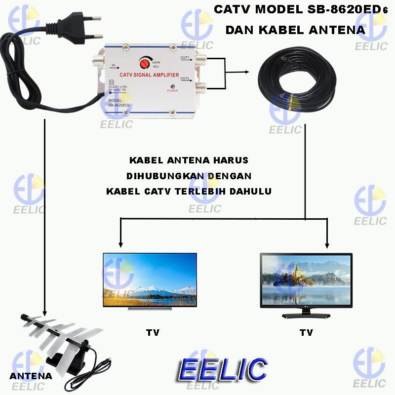 eelic csa 8620ed6 mix penguat sinyal 20 db catv booster indoor 2w televisi kaa 10m kabel antena tv