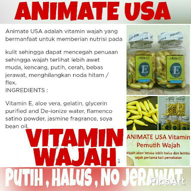 SERUM VITAMIN WAJAH ANIMATE E FACIAL ESSENSE ISI 60 KAPSUL | Shopee Indonesia