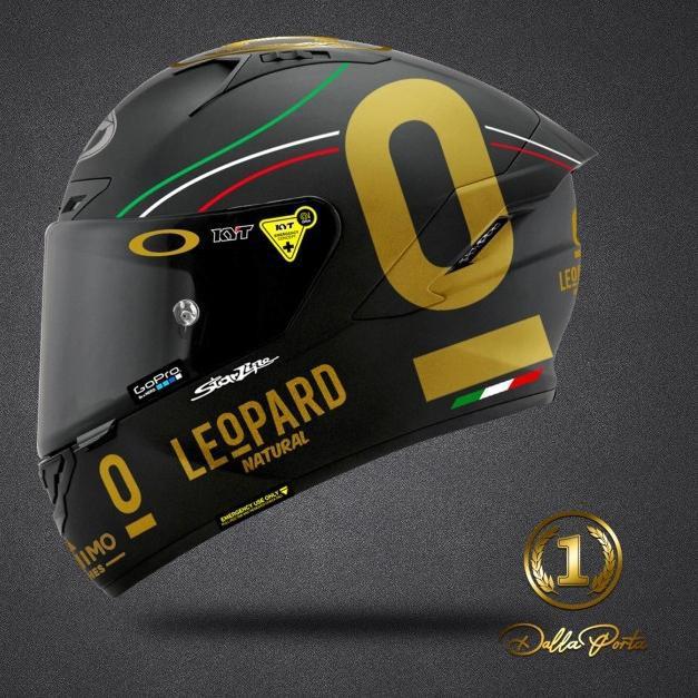 mgu Sticker Helm KYT Full Set Gold Leopard