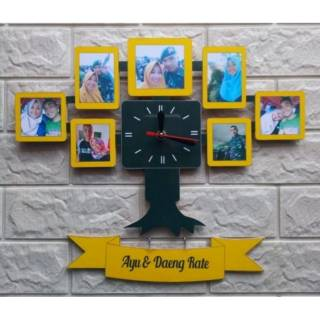Jam dinding kayu frame foto kado lucu unik custom ulang tahun anniversary  pernikahan wisuda ultah bf07b386fb