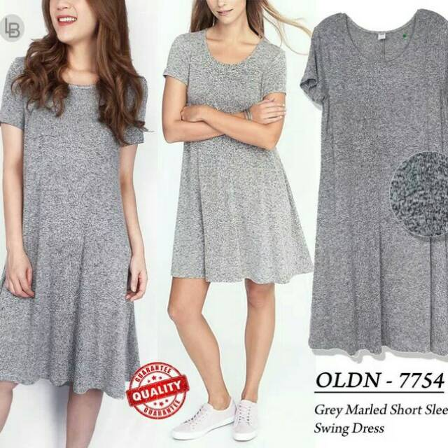 29db7b73 Baju murah OLDNAVY Grey Marled Short Sleeve Swing Dress | Shopee Indonesia